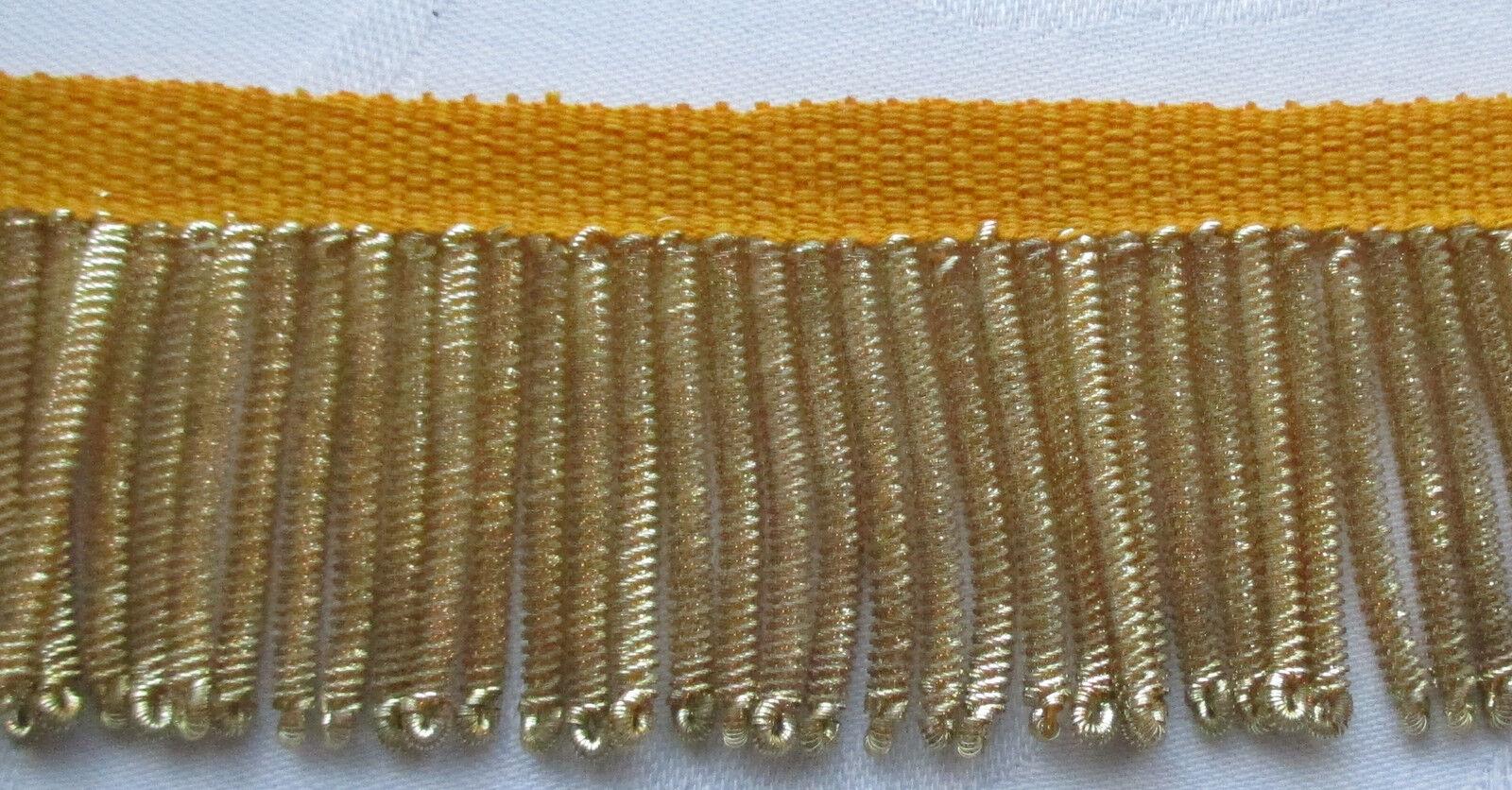 "Vintage Gold Metallic Bullion Fringe Coiled Strands 1 1//4/"" Wide French"