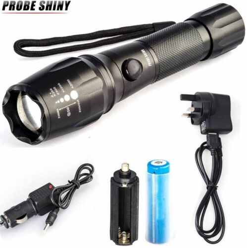 Super Bright 5000LM T6 LED Torch Zoomable Military Flashlight Lamp Set US