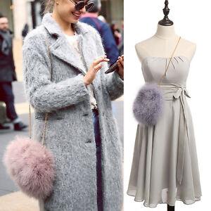 Fluffy-Genuine-Feather-Round-Clutch-Fur-Bag-Chain-Purse-Handbag
