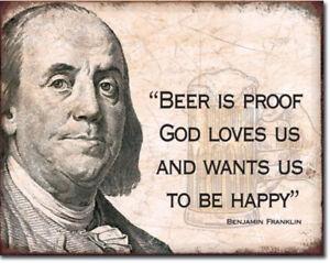 Ben-Franklin-beer-Metal-tin-sign-Bar-Humor-home-garage-Wall-decor-new