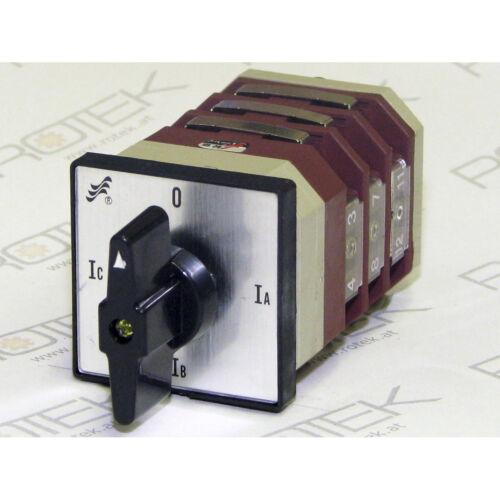 Strom Amperemeter Umschalter Walzenschalter für 3 Stromwandler 48x48 4-Pos