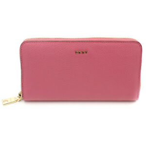 DKNY-NWT-138-Chelsea-Large-Zip-Around-Pink-Pebble-Leather-Index-Wallet