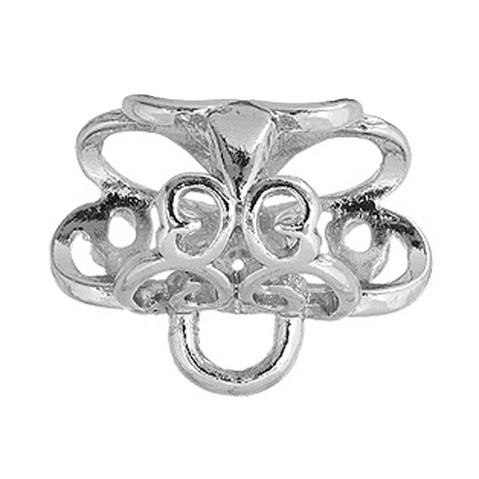 Silver Plated Kumihimo Jewellery pendant bail with centre flower design K140
