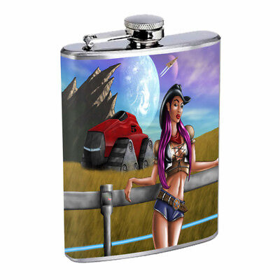 Hot Cowgirls D20 Flask 8oz Stainless Steel Hip Drinking Whiskey