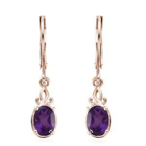Elegant-14K-Rose-Gold-Finish-Silver-Amethyst-Dangle-Drop-Lever-Back-Earrings