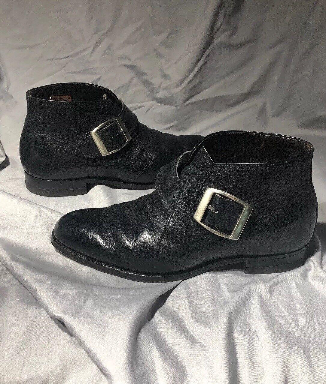 ELEVATORS Height Increasing shoes Leather Hidden Heel Mens 8 Dress BLACK BUCKLE