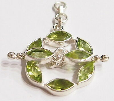 Tested Sterling Silver Marquis Peridot Gem Toggle Clasp for Necklace / Neckwire