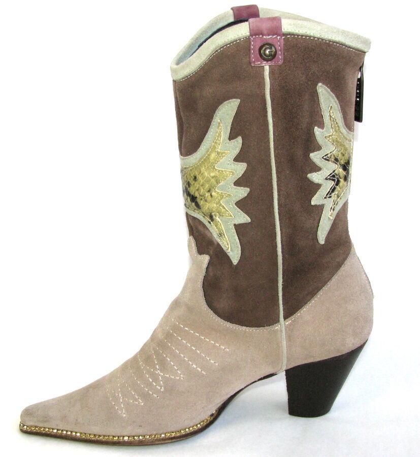 GUESS ante botas botines campera vaquera cuero ante GUESS beis marrón 36 MUY BUEN ESTADO ee1a12