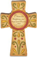 """Pavilion Gift Co Resin Country Soul  29055 """"Friends"""" Self-Standing Cross  6"""" NEW"""