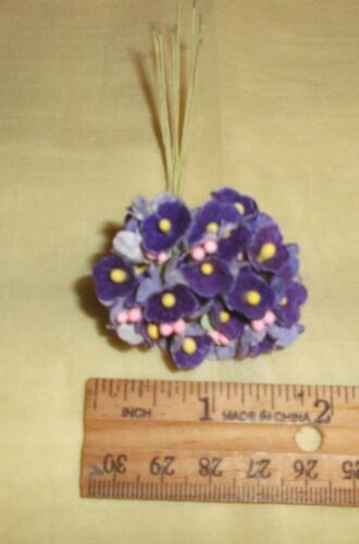 Vintage style PURPLE flocked Parchment FORGET ME NOT floral bunch Dolls /& Craft