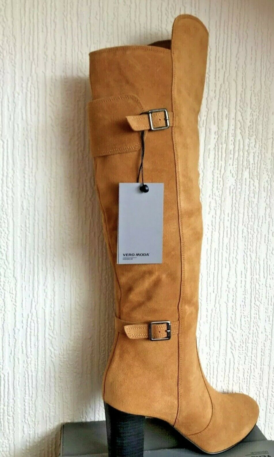 Vero Moda Kelly Cognac Suede Leather Women's Designer Boots Size
