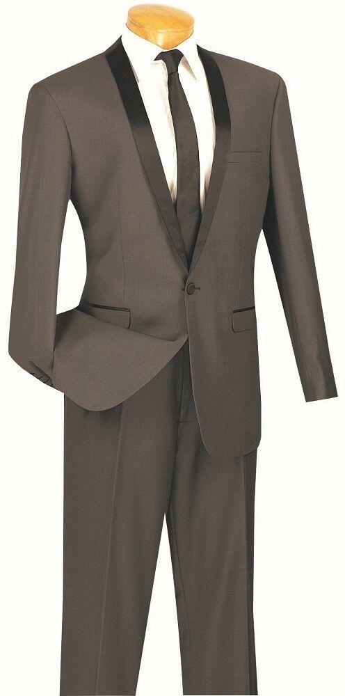 Herren Slim Fit Tuxedo Suit Single Breasted 1 Button Heather grau Prom Wedding TSS