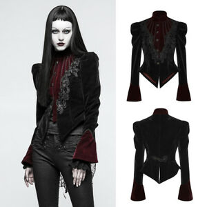 5f73de620981 Punk Rave Y-769 Elegant Goth Victorian Black Dark Red Velvet Tail ...