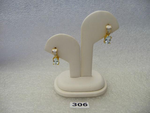 #306# .925 Sterling Silver /18k Gold Plated Oval Aquamarine Blue Gem Earring