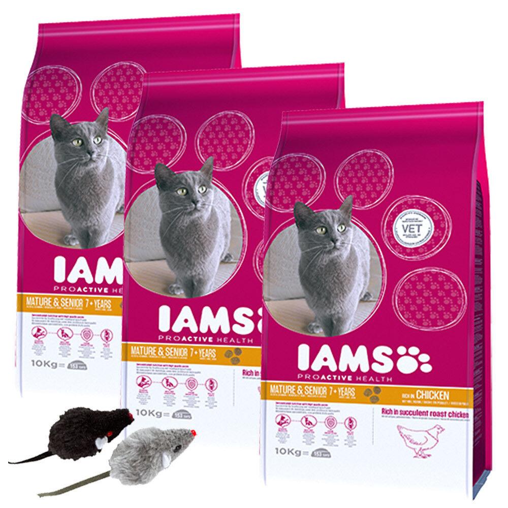 3 x 10 kg Iams proActive Health Mature & Senior pollo cibo per gatti  2 dollari
