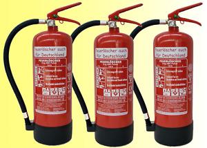 3 x 6 kg Feuerloescher EN3 ABC Pulver + Manometer + Standfuß + Wandhalterung 9LE