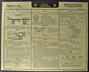 1954 Dodge Six Tune Up Chart Wiring Diagram Coronet ...