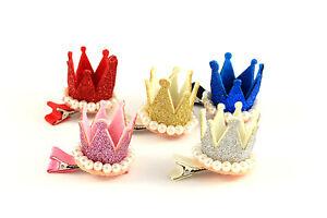 Haarklammer-Haarspange-Krone-Perlen-Glitzer-Geburtstag-Maedchen-Haarschmuck-K327a