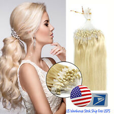 Loop Micro Ring Beads Tipped Real Remy Human Hair Extensions 18Inch Light Blonde