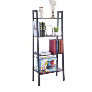 Bedroom-5-Tier-Ladder-Shelf-Bookcase-Bookshelf-Plant-Stand-Storage-Rustic-Brown