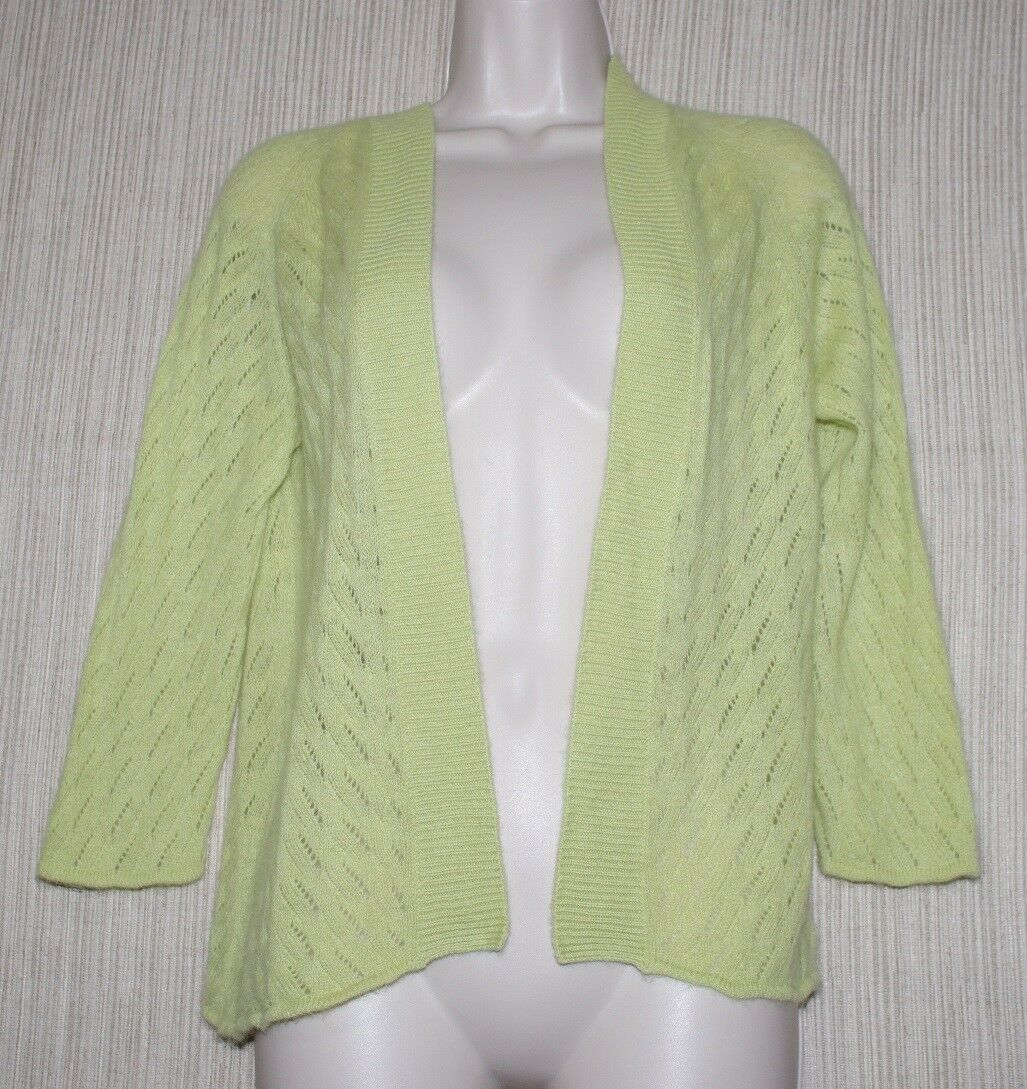 Kinross Cashmere Lace Green Open Thin Cardigan Size S