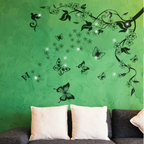 Walplus Wall Sticker Decal Butterfly Vine with Swarovski Crystals Decorations