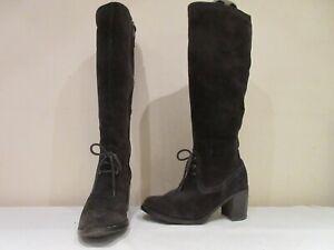 FOOGLOVE-BROWN-SUEDE-LONG-STACKED-HEEL-ZIP-UP-BOOTS-UK-5-5-3282