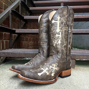 6b2801de3d5 Details about Circle G by Corral Ladies' Embroidered Cross Square Toe  Cowgirl Boots L5042 SALE