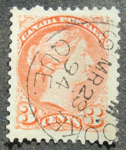 Canada 1870 3C Queen Victoria rose, Mi #28dA used