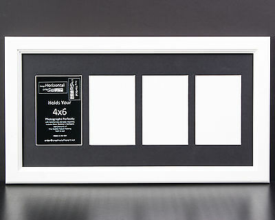 4 Opening Glass Face 10x20 White Picture Frame Holds 4x6 Media White Collage Mat
