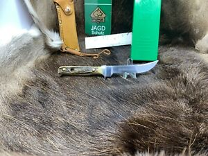 1985-Vintage-Puma-6394-Hunter-039-s-Companion-039-Knife-With-Stag-Handles-Mint-In-G-Y