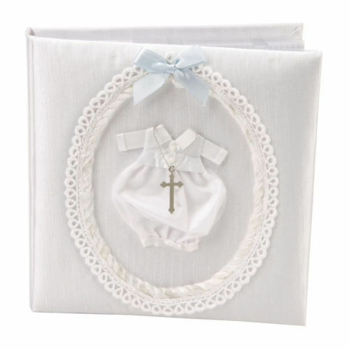 """White Fabric Christening Day Photo Album 6x4/""""Size 3D outfit /& Cross CG803"""