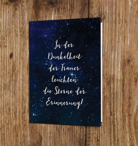 """Trauerkarte mit Umschlag /""""Sterne/"""" Kondolenzkarte Anteilnahme Klappkarte"""