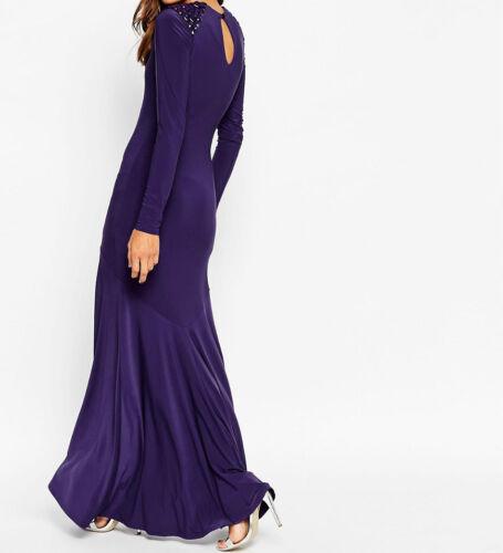 us4 Shoulder Purple Embellished eu36 Dress Zz2 Maxi Branded Uk8 HPpcw0Pq