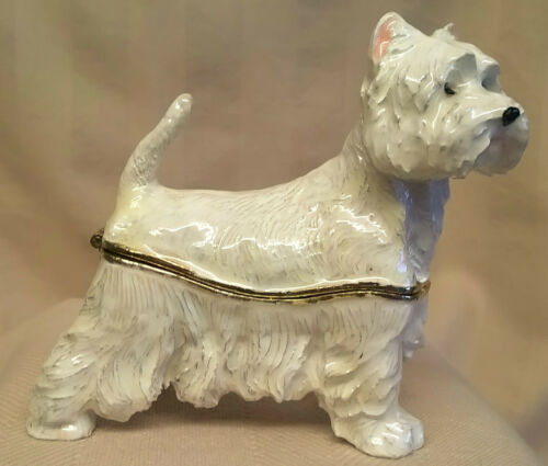 JULIANA TREASURED TRINKETS WESTIE WEST HIGHLAND TERRIER DOG TRINKET BOX 15389