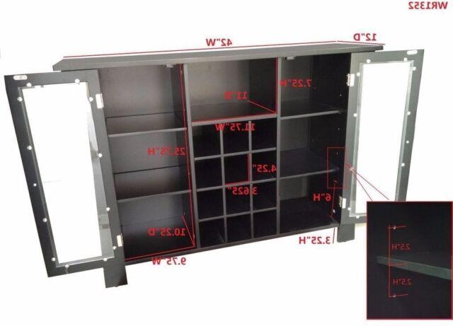 Wine Storage Cabinet Kitchen Bar Furniture Home Cupboard Rack Liquor Shelf Black