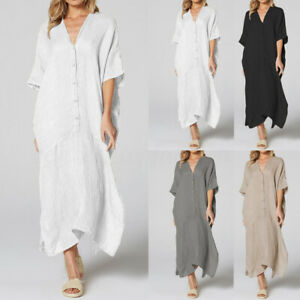 Womens-Autumn-V-Neck-Baggy-Asymmetric-Dress-Kaftan-Long-Maxi-Shirt-Dress-Plus
