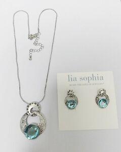 LIA-SOPHIA-SILVER-TONE-BLUE-CUT-CRYSTAL-18-21-NECKLAC-EARRING-SET