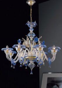 Lampadari In Vetro Di Murano.Details About Chandelier In Murano Glass 1001 8 Crystal Blue Gold 24k Gold Frame Show Original Title