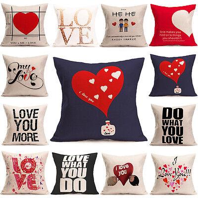 Romantic Love Heart Pillow Case Cotton Linen Throw Cushion Cover Sofa Home Decor