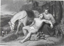 NAKED MAN GOOD SAMARITAN & JESUS CHRIST ~ 1858 Bible LUKE Art Print Engraving