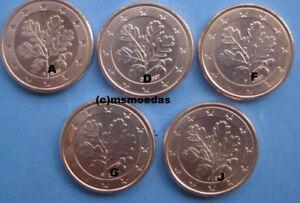 Deutschland 5 X 1 Euro Cent Münzen A D F G J Euromünzen Coins
