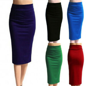 Ladies-Plain-Office-Work-Womens-Stretch-Bodycon-Midi-Jersey-Pencil-Solid-Skirt