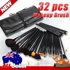 Premium 32PCS Cosmetic Brush Set Professional Makeup Kit Goat Hair Leather Case