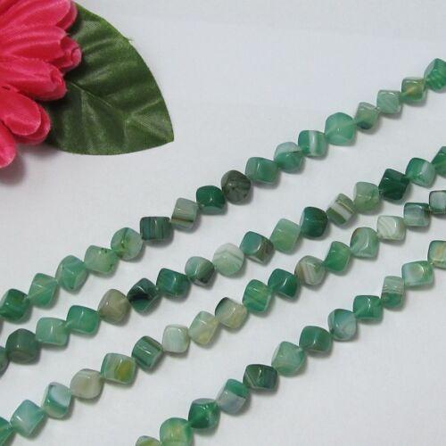 2 Strang grün Streifen Achat 7mm Würfelform Lose Perlen