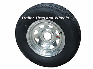 *2* Rainier ST205/75R15 LRC Radial Trailer Tires & Wheels Galvanized Spoke 5-4.5