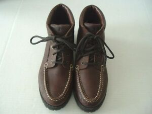 duck head women s brown leather lace up ankle boots size 9 1 2 m ebay