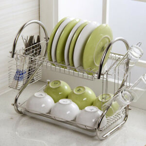 2-Tier-Dish-Drainer-Rack-Storage-Drip-Tray-Sink-Drying-Wired-Draining-Plate-Bowl