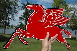 OLD-STYLE-MOBIL-GAS-OIL-24-034-PEGASUS-HORSE-DIECUT-THICK-STEEL-SIGN-LEFT-USA-MADE