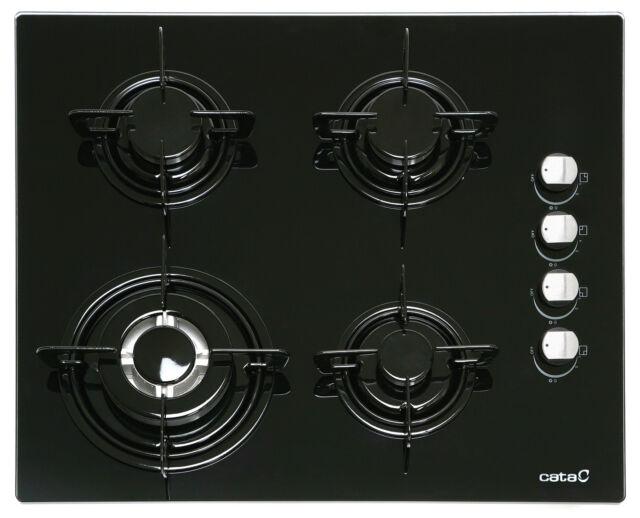 Gas auf Glas - Kochfeld auf 8mm schwarzem Glas mit seitlicher Steuerung, 60 cm